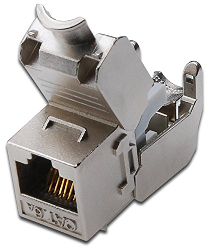 Weibliche Keystone Jack (2x Keystone Jack Cat. 6a RJ45 Buchse, geschirmt, werkzeugfreier Montageanschluss, Digitus® [DN-93615])
