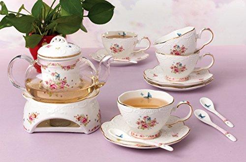 Tetera y taza para una persona/Vintage/Estilo Rústico/Shabby/Pink Rose Herbal Cup/Porcelana de gran calidad.