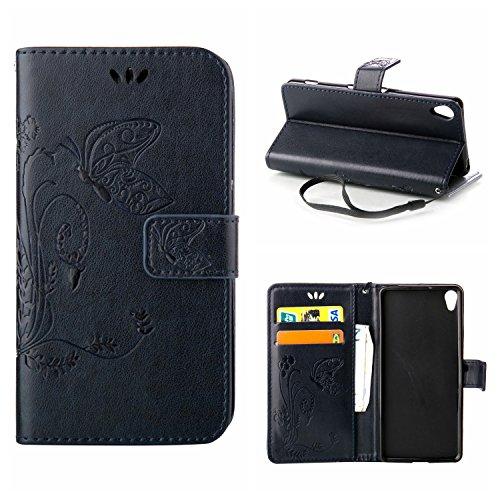 MOONCASE Xperia X Hülle, Schmetterling Tasche Pu Leder Klappetui Bookstyle Schutzhülle für Sony Xperia X Handyhülle Magnetisch [Card Slot] TPU Case mit Standfunktion und Wrist Strap Marine