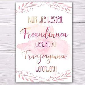 """A6 Postkarte """"Nur die besten Freundinnen werden zu Trauzeuginnen befördert"""" in rosarot Glanzoptik Papierstärke 235 g…"""