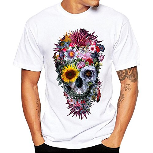Ulanda-EU Mens T-Shirts Summer Casual Formal Regular Fit Short Sleeve Funny Floral Skull Printed Tops Polo Blouse Designer for Man Shirts Clothes Sale Clearance