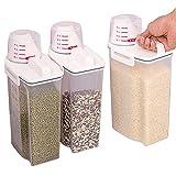 Cucina contenitori per alimenti, senza BPA, contenitori in plastica per cereali sigillato idrorepellente 2kg con misurino per farina di riso zucchero snack Pet food