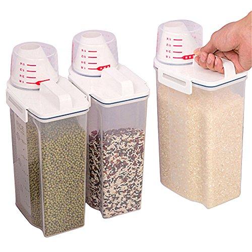 Recipiente de plástico para almacenamiento de alimentos de cocina, sin BPA, sellado a prueba de humedad, 2 kg con taza de medición para azúcar de harina de arroz, aperitivos y comida para mascotas