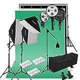 CRAPHY Kit d'Éclairage Studio Photo, 2000W Kit Studio Photo avec 3 Softbox + 12x45W Ampoules + 3x80(2m) Trépieds + 3 Fonds + 2mx3m Support de Fond+ Sac de Transport