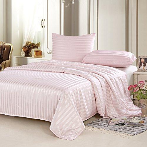 Satin-streifen-600-thread (Alaska Bär 19Momme Seide Spannbettlaken und flach Bettwäsche, 100% natürliche Maulbeer Seide, 600-thread-count, hochwertige, Queen, elfenbeinfarben, Seide, rosa streifen, King(Duvet Cover))