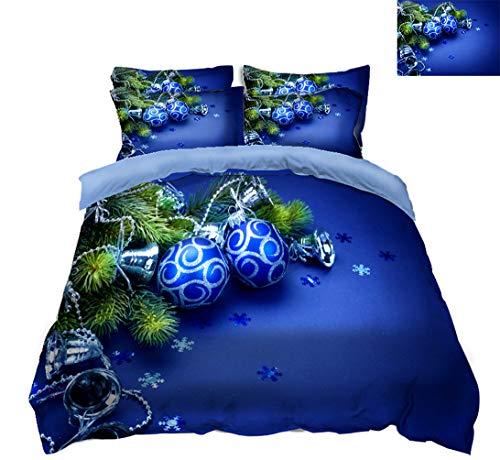 EA-SDN - Biancheria da Letto in Poliestere con Stampa Palle di Natale 3D, Set di Biancheria da Letto, 3 Pezzi, con Chiusura Lampo, Blu, 135 x 200 cm, a, 135 x 200 cm