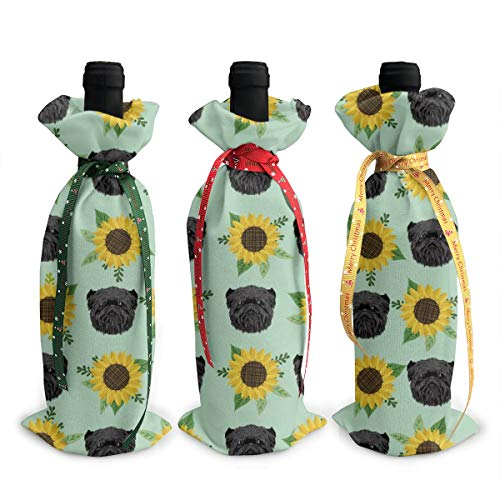 Wine Bags,Affenpinscher Sunflower Floral Dog Dog Heads Light Green Champagne Wine Bottle Bags Covers for Wedding Party Holiday 3 Pieces Set