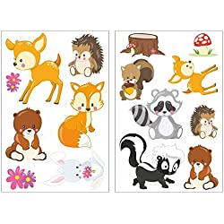 15 Piece Cute Forest Animals Wall Sticker Set for Children's Bedroom Baby Room, 2x 16x26cm