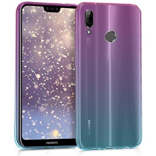 kwmobile Funda para Huawei P20 Lite - Carcasa para móvil de TPU con diseño Bicolor - Rosa Fucsia/Azul/Transparente