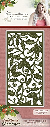 Sara Signature Traditionelle Weihnachten Metall sterben verschlungene Holly, rot - Traditionelle Holly