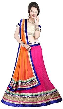 Anu Clothing Women's Net Unstitched Lehenga Choli (AASR008, Pink, Free Size)