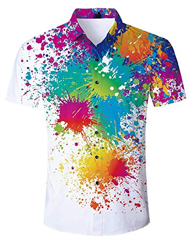 Fanient Hawaii Aloha Shirts Kurzarm Tie Dye Grafik Lässige 3D gedruckte Shirt Button Down Hawaii Shirts XL -