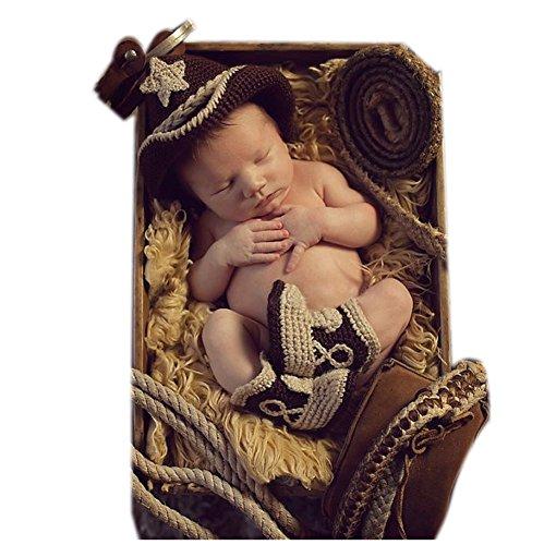 binlunnu neonato fotografia puntelli Boy Girl Crochet Costume Abbigliamento Cappello Pantaloni Boot