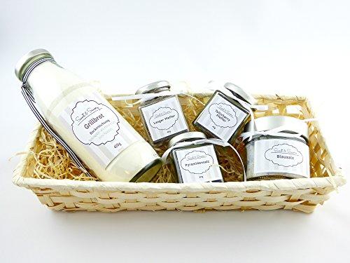 Geschenkset Geschenkkorb Set mit Grillbrot ( Brot-Backmischung), Pyramidensalz , Blausalz, Langer Pfeffer, Tellicherry Pfeffer