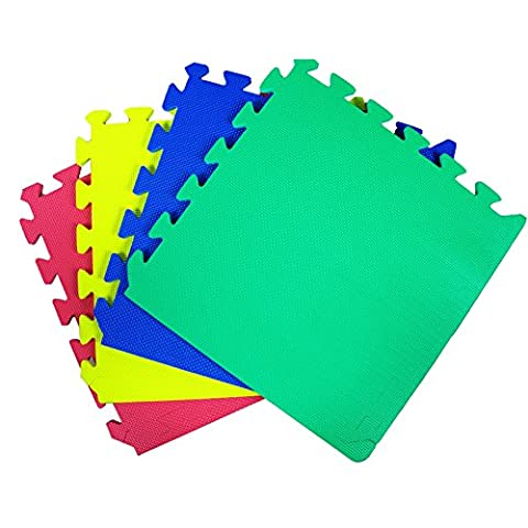 JSG Accessories® Outdoor/Indoor Protective Flooring Mats -54 pcs interlocking children`s soft foam eva play mats suitable for Gym, Play Area, Exercise, Yoga in MULTICOLOUR (Red, Blue, Green, Yellow) 54 tiles (