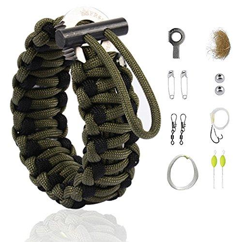 The Friendly Swede Braccialetto Multiuso con Kit di Sopravvivenza Grenade per Escursionismo (Verde Militare con Linea Nera)