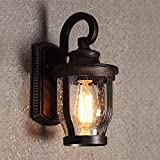 Oudan Wandleuchte E27 Retro Außenwand Wasserdicht Lampe & Kreative Lichter Garten Balkon Außentreppe Wandleuchte (Farbe: Schwarz) (Farbe : Antique Color)