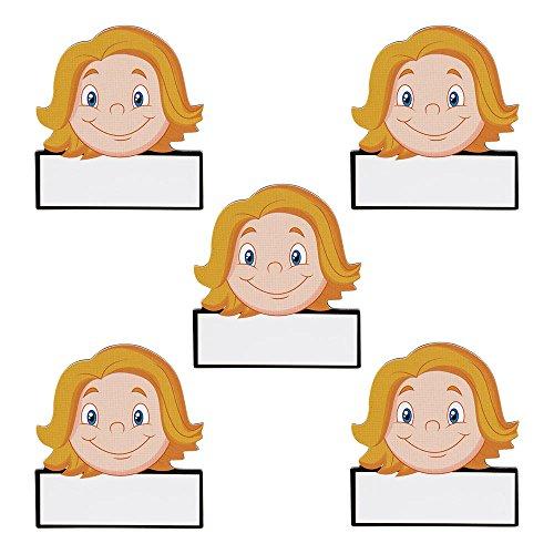 5 Namen Magnete Avatar Frauen Wiederbeschreibbar 5,5 x 5 cm für Magnettafeln, Kühlschränke, Plantafeln und Whiteboards - Emoji Magnet Women Name Magnet (Kühlschrank-magnete Emoji)