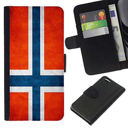 Graphic4You Vintage Uralt Flagge Von Slowakei Slowakisch Design Brieftasche Leder Hülle Case Schutzhülle für Apple iPhone 5C Norwegisch
