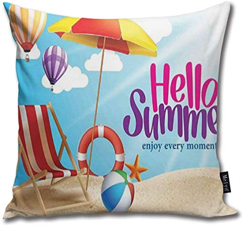 Mengghy Hello Summer Enjoy Every Moment Quote with Sandy Beach Umbrella Holiday Design Soft Cotton Linen Cushion Cover Pillowcases Throw Pillow Decor Pillow Case Home Decor 18X18 Inch