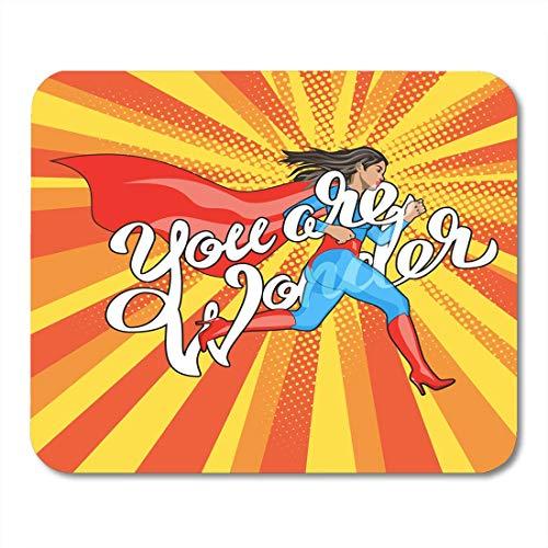 Luancrop Mauspads Rot Du bist EIN Wunder Hand Schriftzug Runing Woman Female Hero Girl im Kostüm Pin Up Comic-Stil Pop Super Mauspad für Notebooks, Desktop-Computer - Einfach Super Hero Kostüm