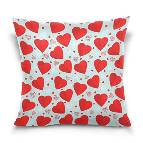 Klotr federe cuscino divano, elegant white and red hearts decorative square throw pillow case cushion cover for sofa bedroom car double-sided design 18 x 18 inch