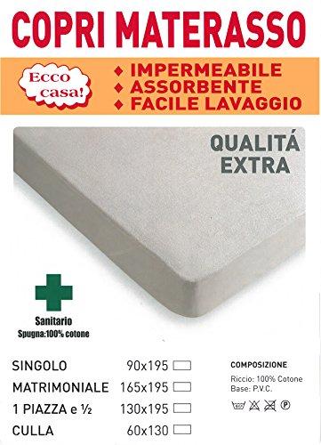 Coprimaterasso pvc cerata in spugna traspirante impermeabile antiacaro igienico - 2 piazze