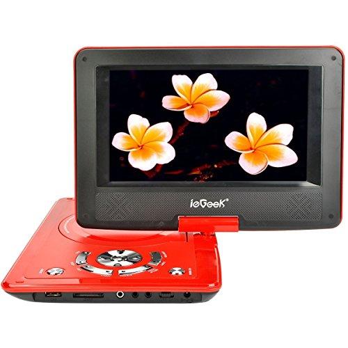 ieGeek Lettore DVD Portatile Display 9 Pollici regolabile, 5 ore Batteria ricaricabile, supporto schedeSD e pennette USB, avvio diretto di MP4/AVI/RMVB/MP3/JPEG, rosso