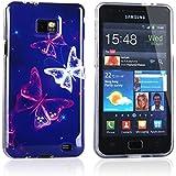 Tinxi® Schutzhülle für Samsung Galaxy S II i9100 Hülle Silicon Case Silikon Schutz Rückschale Cover Traumschmetterling