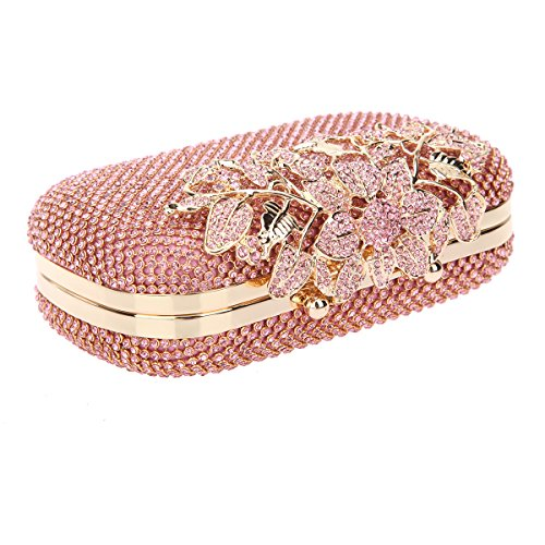 Bonjanvye Flower Purses with Crystal Rhinestones Evening Clutch Bags Red Pink