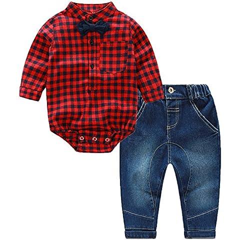 puseky neonato ragazzi rosso plaid pagliaccetto tuta + Jeans pantaloni abbigliamento vestiti