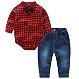 puseky Neugeborene Baby Jungen Rot Kariert Strampler Jumpsuit + Jeans Pants Outfits Kleidung (12–18 Monate)