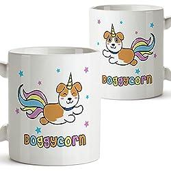 Taza Doggycorn - Regalo original y divertido para perros y amantes de los unicornios - Taza de café - Cerámica 11 oz / 350 ml