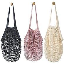 3PC portatile riutilizzabile maglia cotone string net organizer per shopping Tote (lunga striscia)