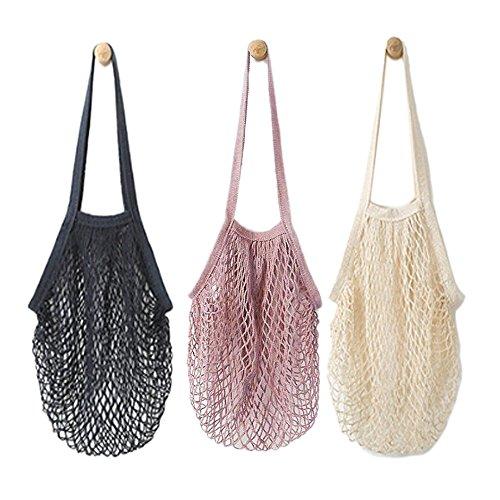 3PCS tragbar wiederverwendbar Mesh Baumwolle Net String Bag Organizer Einkaufstasche Handtasche (lang Streifen)