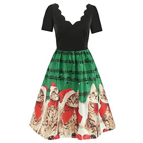 (KPILP Weihnachtskatzen Damen Mädchen Elegant Abendkleid Ärmellose Musiknoten Druck Lange Ärmel Weinlese Weihnachten Party Kleid Mesh Brautkleid Retro Cocktailkleid(A-grün,EU-46/CN-XL)