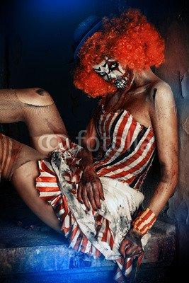 otiv: scary circus clown #123046700 - Bild als Klebe-Folie - 3:2-60 x 40 cm/40 x 60 cm (Scary Clown Bild)