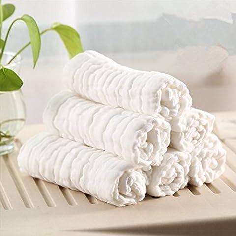 100% asciugamani in cotone naturale per bambino garza 6strati, no-dyes, non candeggia, regalo perfetto per la pelle sensibile Baby, colore: bianco, confezione da 3, colore: bianco