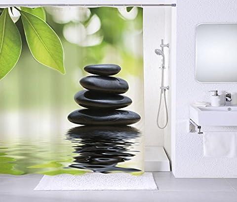 Duschvorhang, viele schöne Duschvorhänge zur Auswahl, hochwertige Qualität, inkl. 12 Ringe, wasserdicht, Anti-Schimmel-Effekt (Harmony, 180 x 180