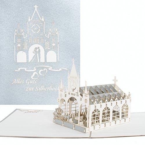 """3D Karte \""""Alles Gute zur Silberhochzeit\"""" - Edle Pop-Up Silberhochzeitskarte, Glückwunschkarte Silberhochzeit, Silbernes Jubiläum, 3D Karte Silberne Hochzeit, Geschenk & Geschenkgutschein"""