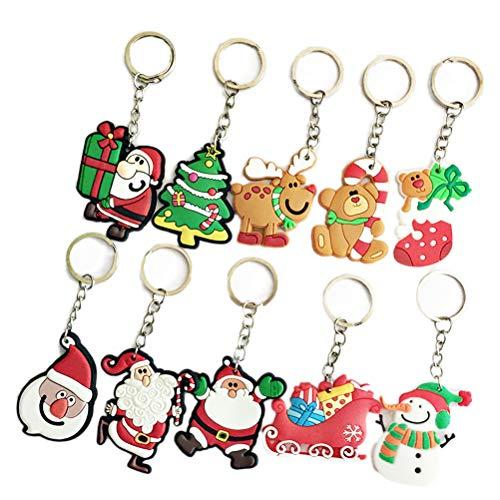 BESTOYARD 10 Pezzi Portachiavi di Natale con Babbo Natale per Regalo delle Donne e Bamb