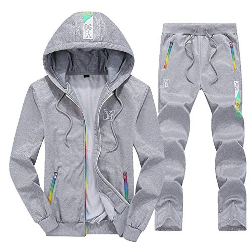 Mens Tracksuit Set, Hooded Casual Sportswear Full Zip-Up Jogging Sport Gym Sweatsuit Long Sleeve Spring Fall Men es Jacket and Pants,Gray,XL Hooded Pant Set