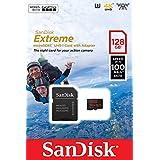 Carte mémoire microSD SanDisk Extreme 128 Go pour caméras d'action + Adaptateur SD, jusqu'à 100Mo/s, V30, A1