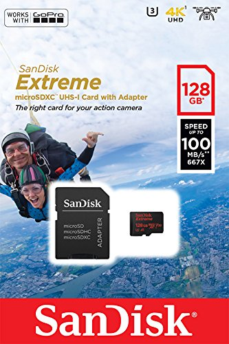 Foto SanDisk Extreme 128 Gb per Action Camera, MicroSDHC con Adattatore...