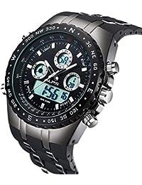 Reloj,Relojes Hombre, Reloj analógico digital Moda deportiva multifunción a prueba de agua fecha de la alarma de goma negro reloj de pulsera