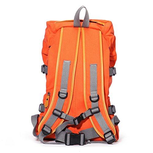 Eshow Damen Canvas Reise Camping Picknick Sportlich Freizeit Wochenende Rucksack Taschen Orange