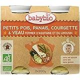 Babybio Pots Petits Pois Panais Courgette/Veau Fermier d'Aquitaine/du Limousin 400 g - Lot de 6