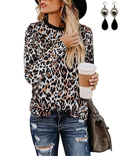 BUOYDM Camisetas de Manga Larga para Mujer Casual Blusa Tops otoño Invierno T Shirt con Estampado de Leopardo, Naranja L