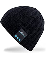 Rotibox Outdoor Bluetooth Beanie Hut - Warm Musik Beanie Hut mit Bluetooth Stereo-Lautsprecher Kopfhörer, Mikrofon, Hände frei für Sport-Running Gym Reisen - Kompatibel mit Handys, iPhone, iPad, Samsung, Tablets, Smartphones - Schwarz