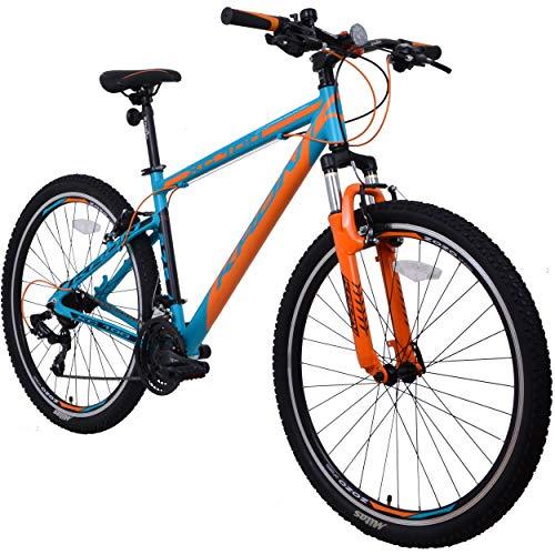 KRON XC-100 Hardtail Aluminium Mountainbike 27.5 Zoll, 21 Gang Shimano Kettenschaltung mit V-Bremse | 18 Zoll Rahmen MTB Erwachsenen- und Jugendfahrrad | Blau & Orange